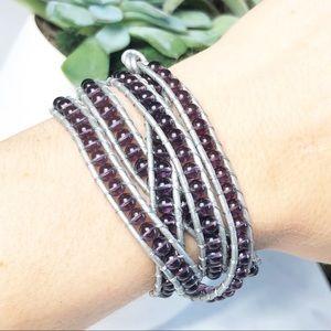 Victoria Emerson Wrap Bracelet Purple Silver
